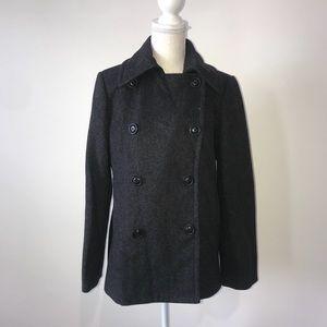 J Crew Wool Pea Coat Charcoal Gray Size Medium